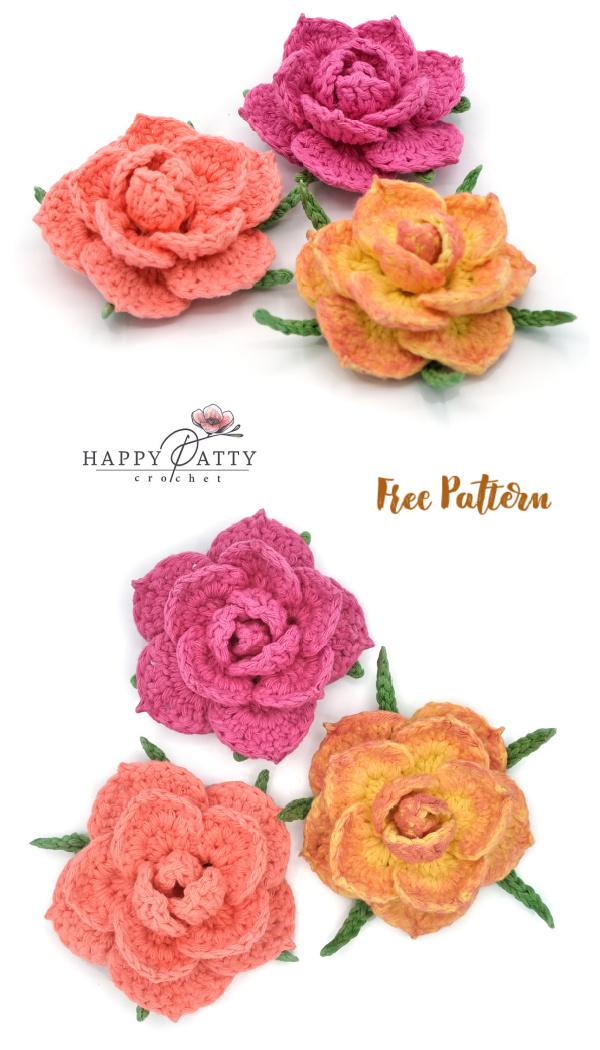 Easy 3D Rose Applique Free Crochet Patterns
