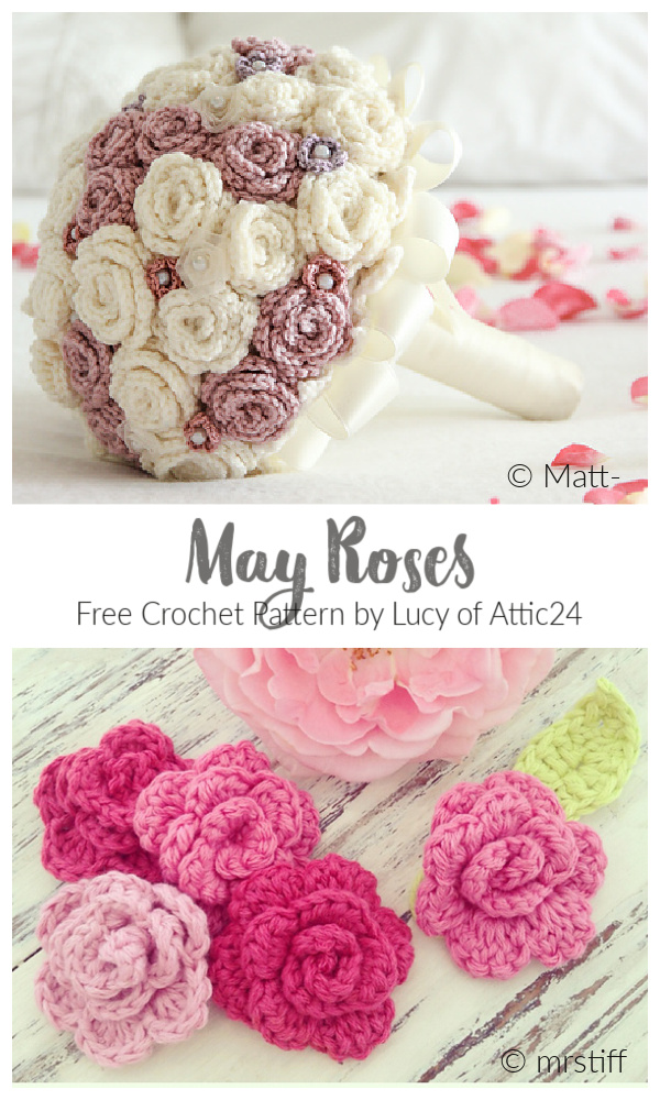 Easy 3D May Rose Applique Free Crochet Patterns