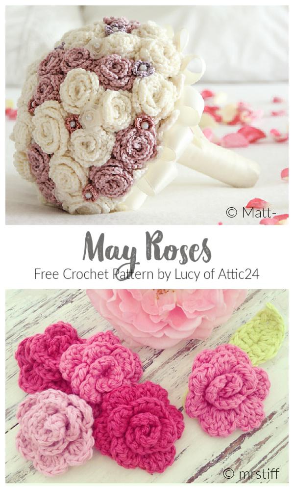 Easy 3D May Rose Aplike Serbest Tığ Desenleri