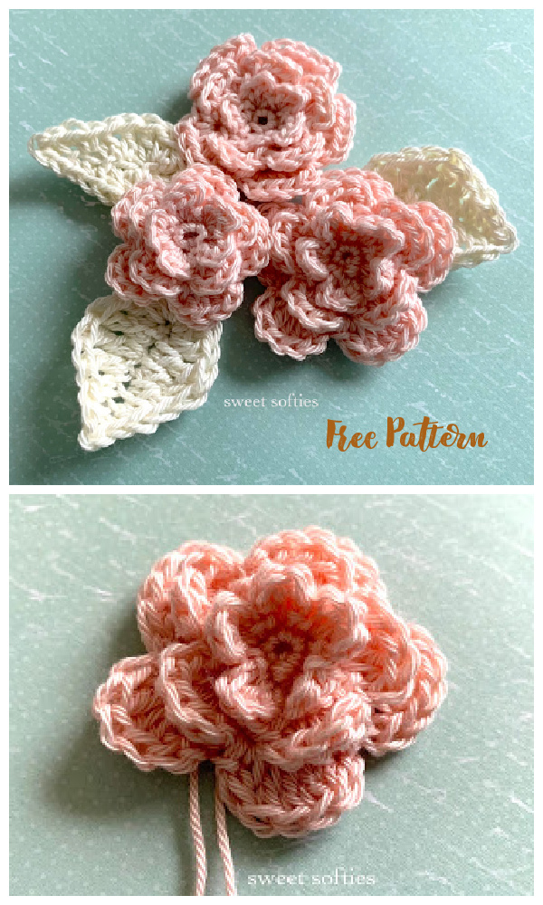 Easy Layered Rose Applique Free Crochet Patterns
