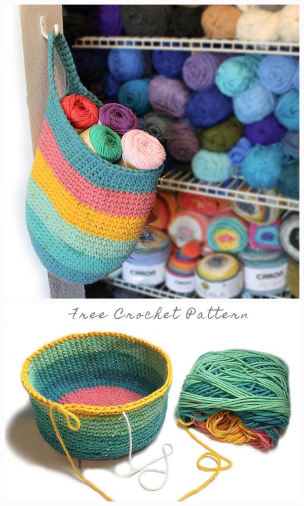 Hanging Sack Basket Free Crochet Patterns