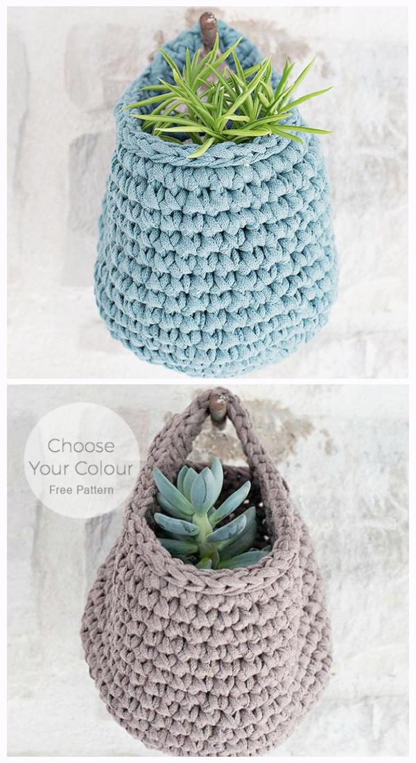 Chunky Hanging Baskets Free Crochet Patterns