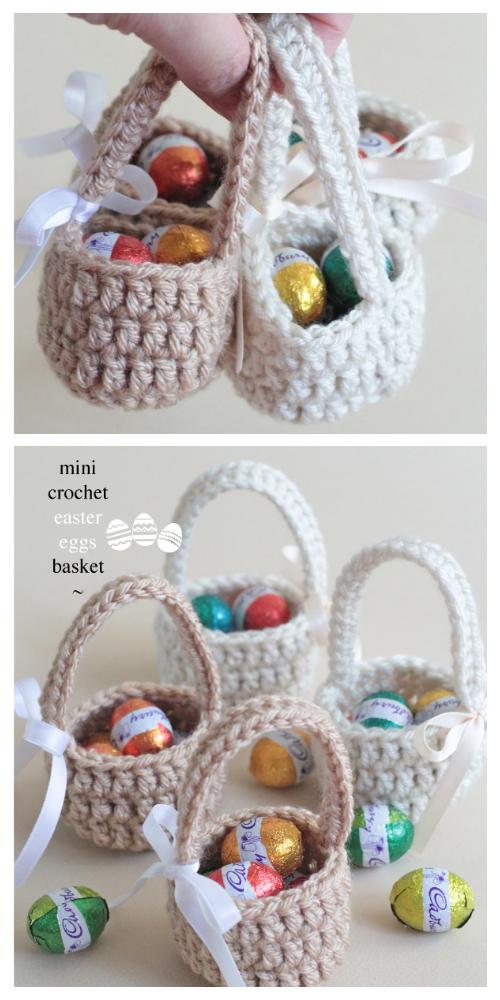 Mini Tığ Paskalya Yumurtaları Sepet Serbest Tığ Desenleri