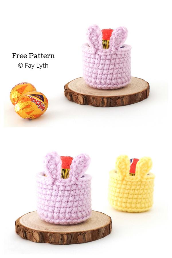 Mini Easter Creme Egg Bunny Basket Ücretsiz Tığ Desenleri