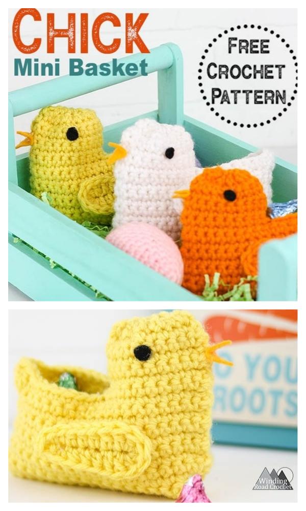 Mini Chick Easter Basket Ücretsiz Tığ Desenleri