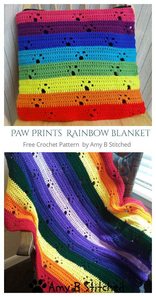Paw Print Rainbow Blanket Free Crochet Patterns