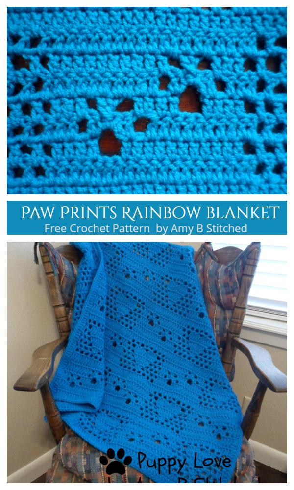 Paw Print Blanket Free Crochet Patterns