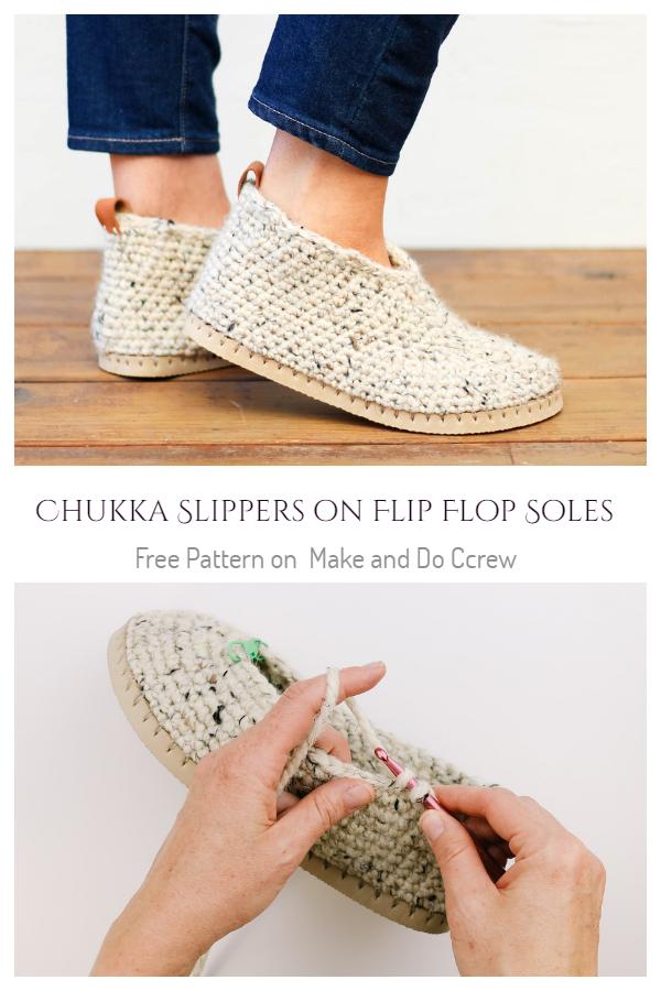 Chukka Slippers on Flip Flop Soles Free Crochet Pattern