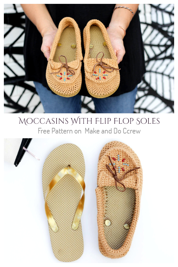 Moccasins With Flip Flop Soles Free Crochet Pattern