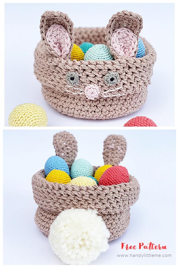 Bunny Easter Basket Free Crochet Patterns