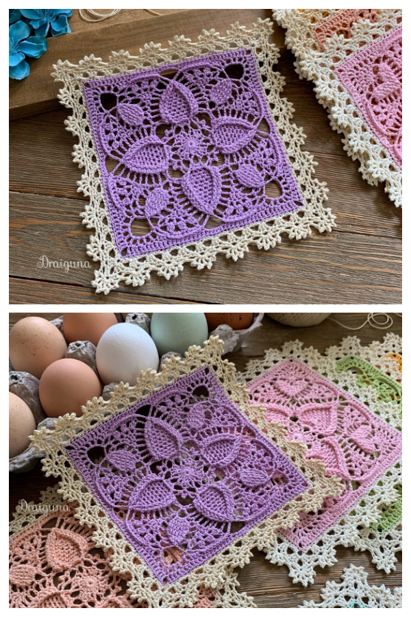 Easter Egg Square Lace Doily Free Crochet Pattern