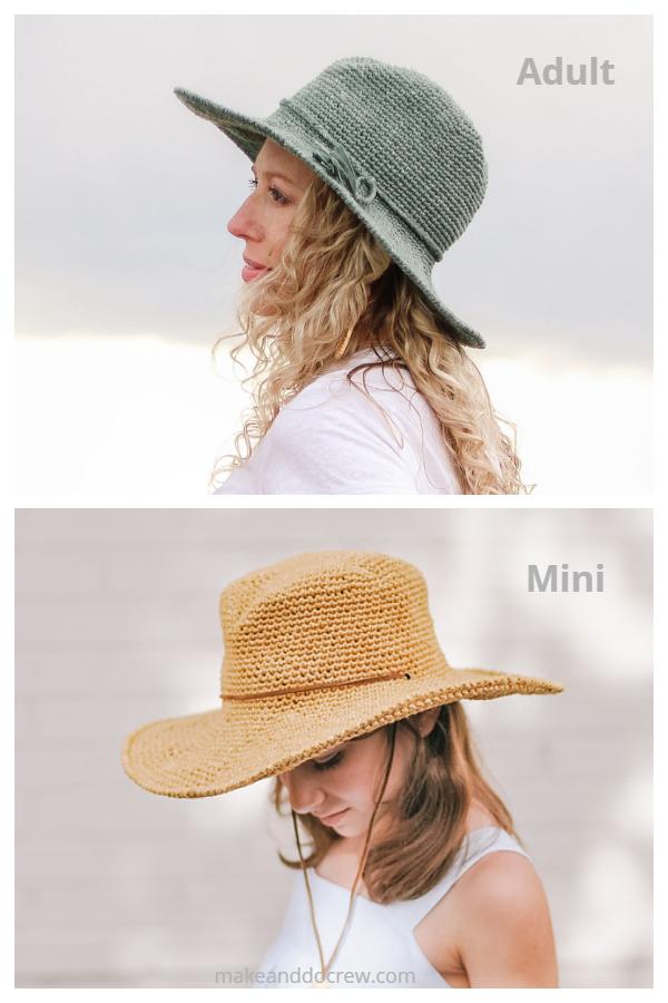 Easy Cleo Wide Brim Fedora Hat Free Crochet Patterns