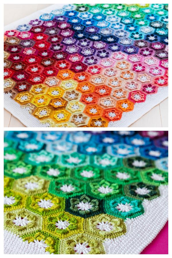 Little Lily Flower Hexagon Baby Blanket Free Crochet Patterns