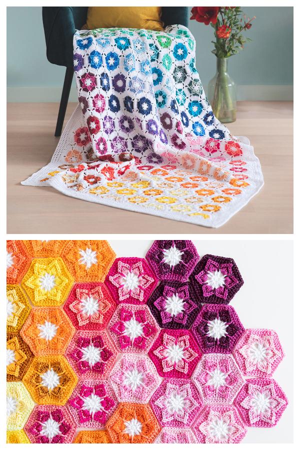Noëlle Flower Hexagon Blanket Free Crochet Patterns
