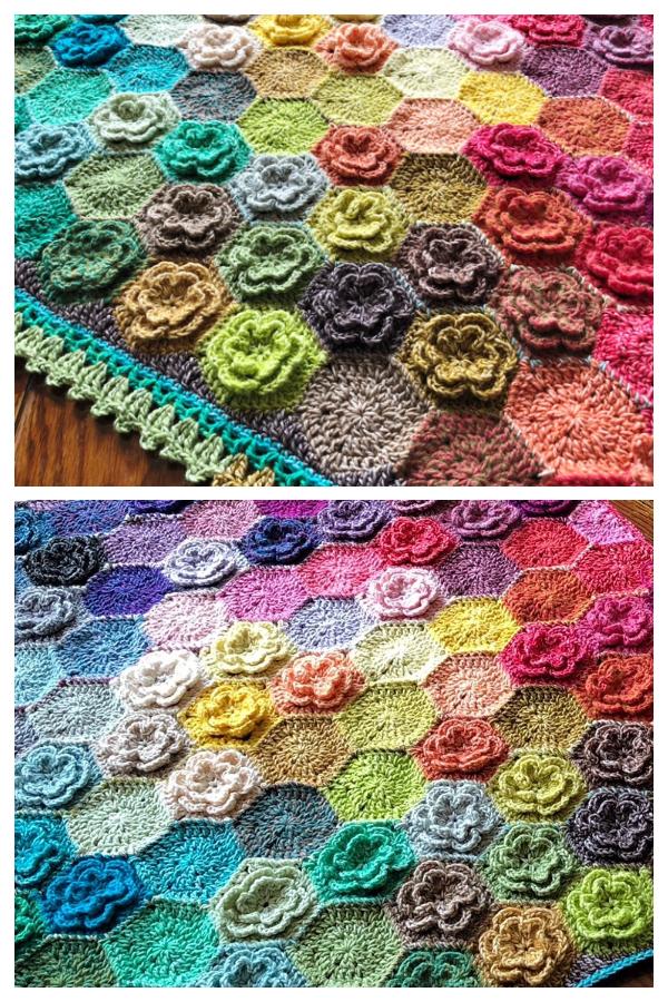 Happy Little Tree Flower Hexagon Blanket Free Crochet Patterns