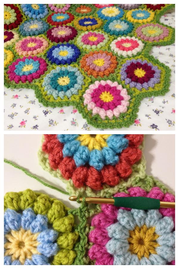 Bobbly Flower Hexagon Blanket Free Crochet Patterns