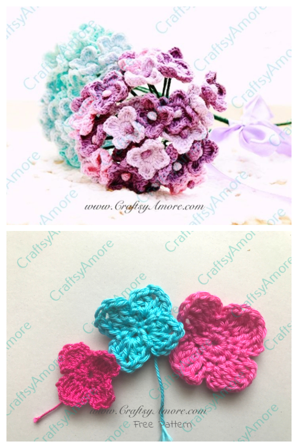 Hydrangea Flower Bouquet Free Crochet Patterns