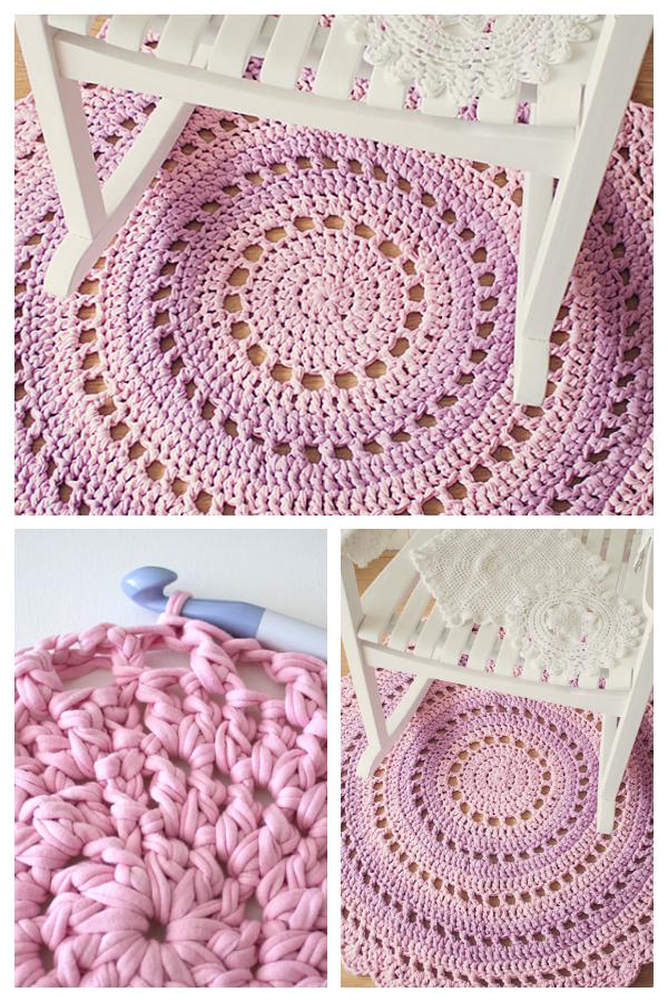 Gorgeous Mandala Floor Rug Free Crochet Patterns