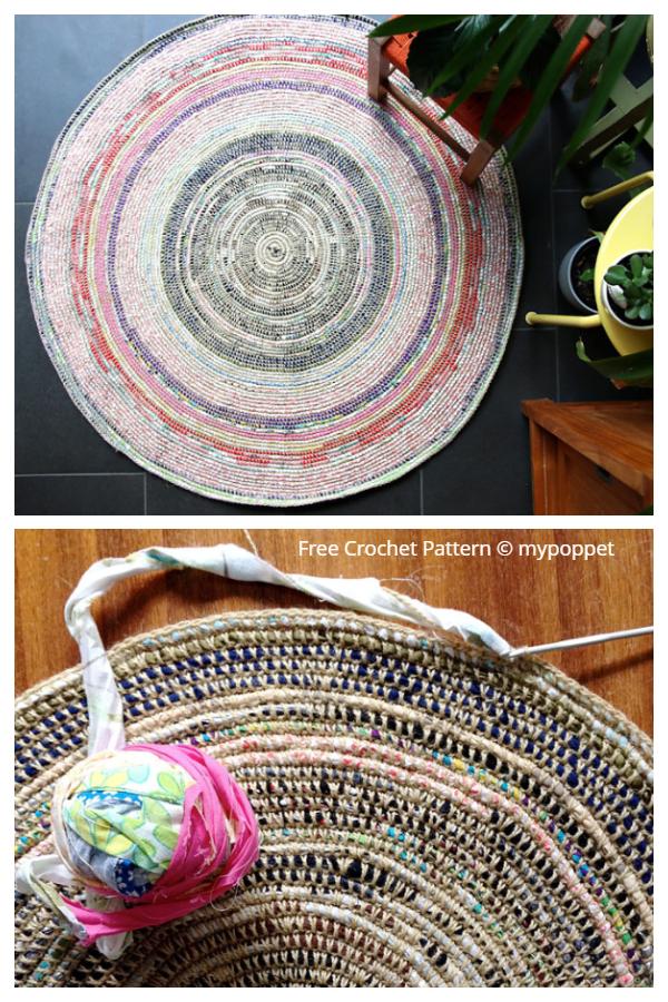 Coil & Crochet Scrap Fabric Rug Free Crochet Patterns