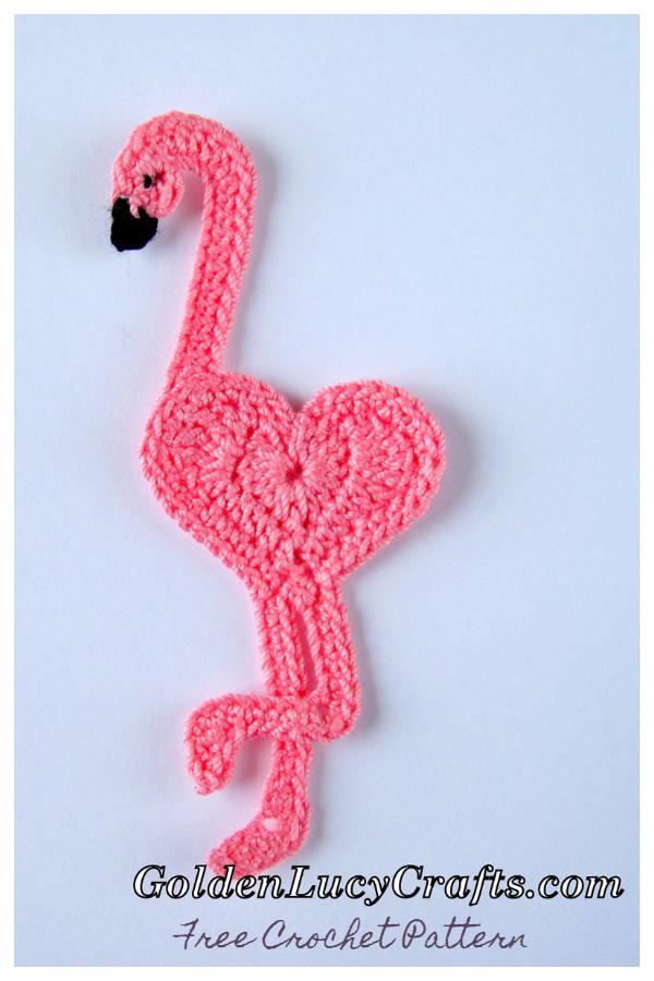 Sweet Heart Flamingo Applique Free Crochet Patterns