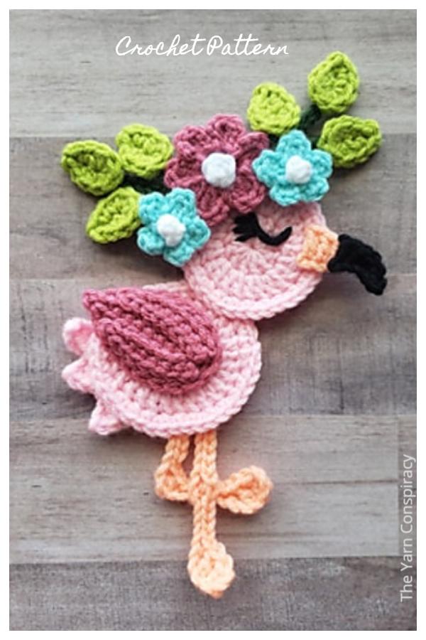 Flora the Flamingo Applique Crochet Patterns