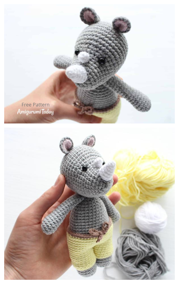 Amigurumi Cuddle Me Rhino Free Crochet Patternsino