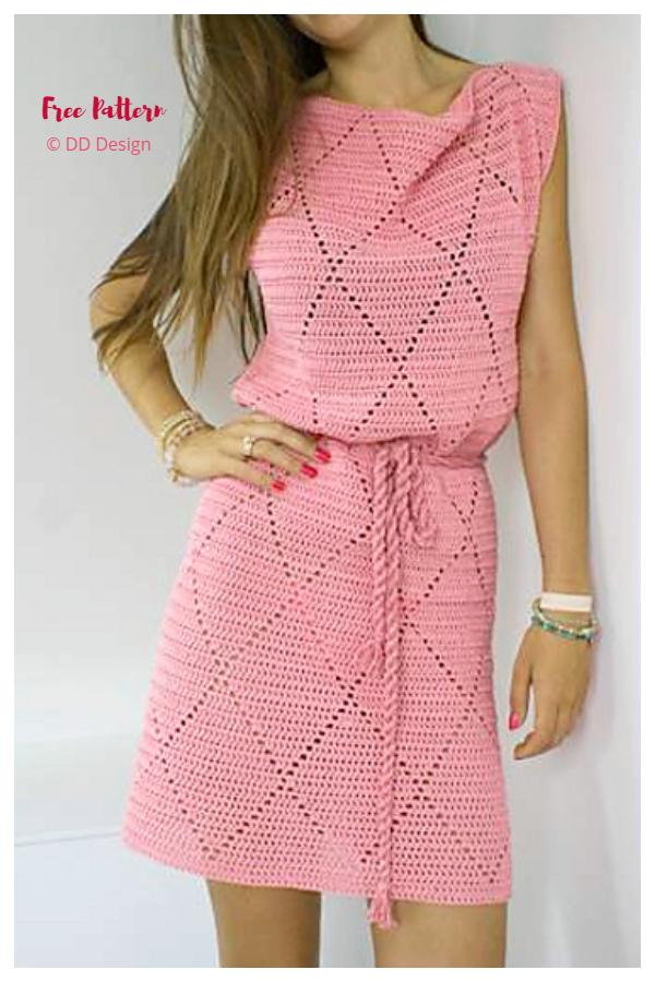 Diamond Summer Dress Free Crochet Patterns