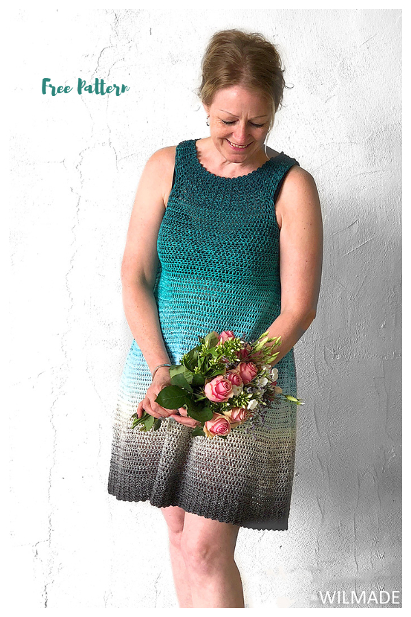 Simple Collar Summer Dress Free Crochet Patterns
