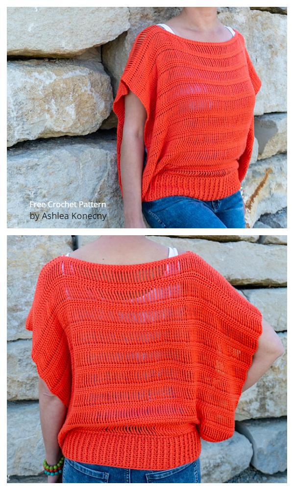 Summer Track Stitch Tunic Free Crochet Patterns