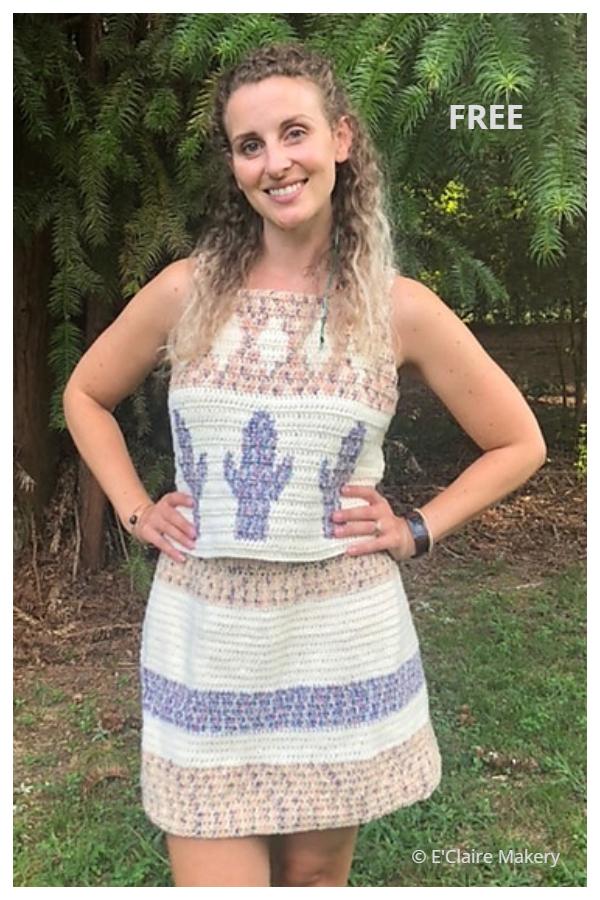 Summer Desert Cactus Top & Dress Free Crochet Patterns