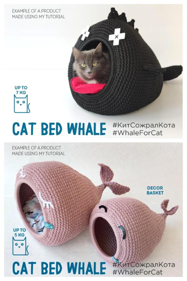 3D CAT BED Whale Crochet Patterns
