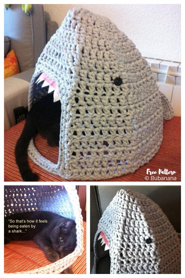 3D Shark Cat House Free Crochet Patterns