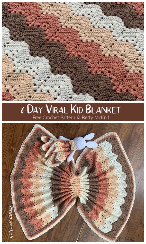 6-Day Viral Kid Blanket Free Crochet Patterns