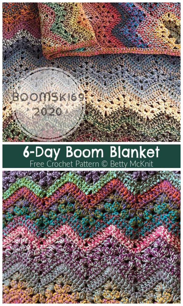 6-Day Boom Blanket Free Crochet Patterns