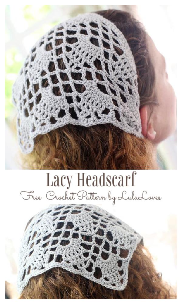 Lacy Headscarf Free Crochet Patterns