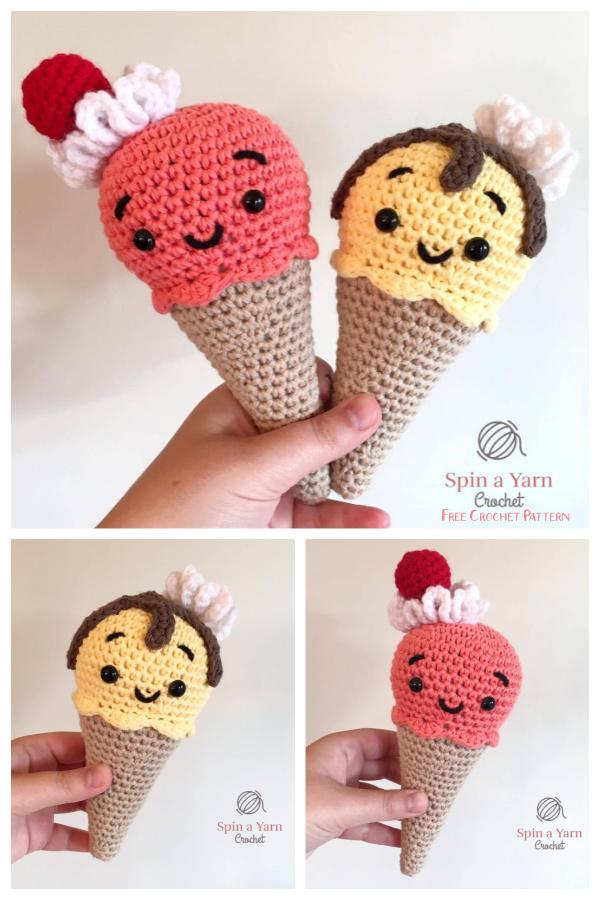Crochet Melty the Ice Cream Amigurumi Free Patterns