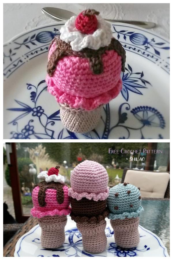 Crochet Multi-Flavored Ice Cream Amigurumi Free Patterns