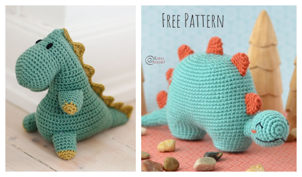 Crochet Spiky Dinosaur Amigurumi Free Patterns