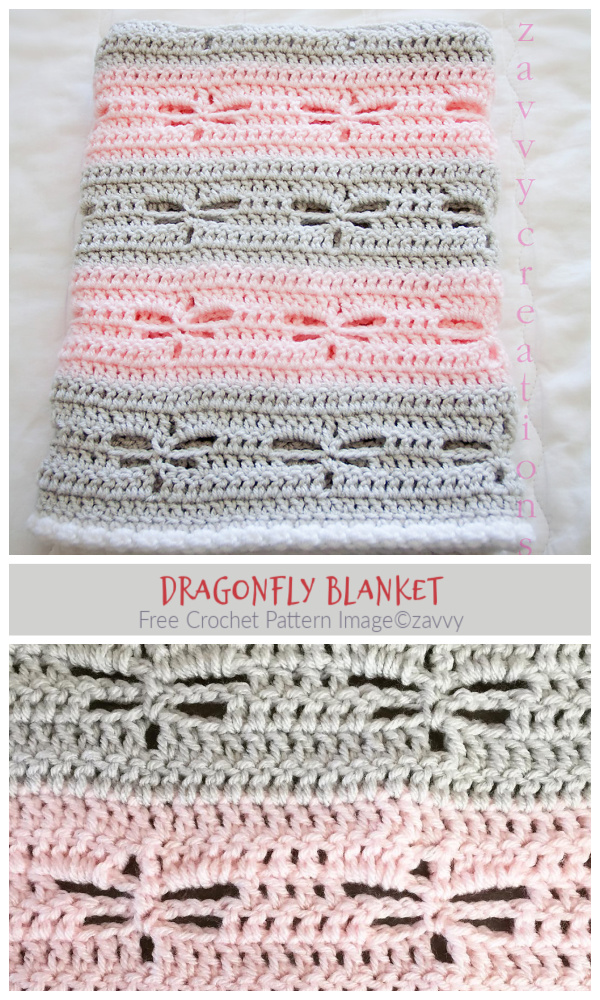 Lace Dragonfly Blanket Free Crochet Patterns