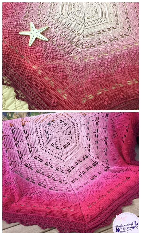 Lace Hexagon Dragonfly Blanket Crochet Patterns