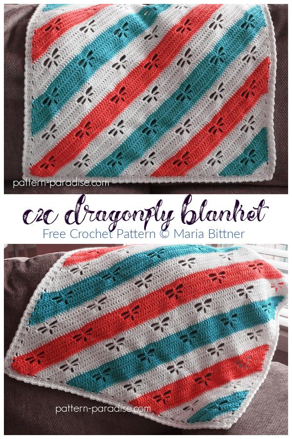 Dragonfly C2C Throw Blanket Free Crochet Patterns