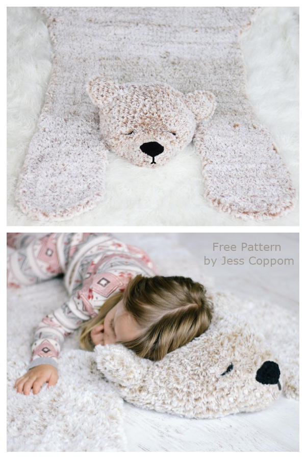 Hibernation Bear Blanket Rug Free Crochet Patterns