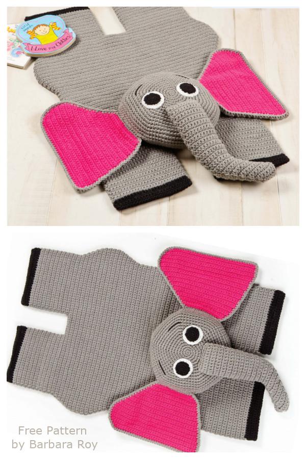 Fun Animal Elephant Rug Free Crochet Pattern for Kids