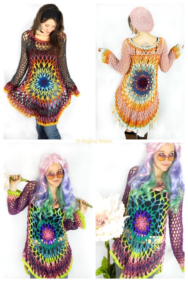 Doily Mandala Flower Pullover Crochet Patterns