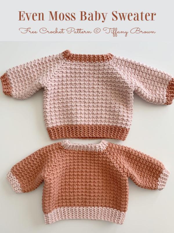 Even Moss Baby sweater Free Crochet Patterns