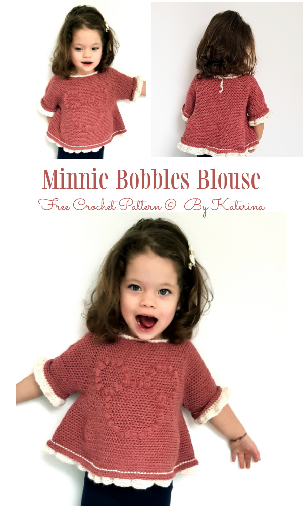 Baby&Kids Minnie Bobble Blouse Sweater Pullover Free Crochet Patterns(2-8Y)