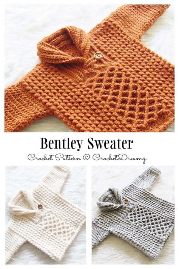 Baby&Kids Bentley Sweater Pullover Crochet Patterns (3M-4Y)