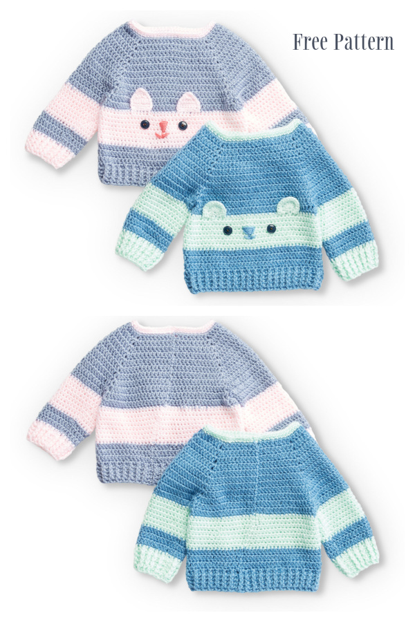 Baby Character Sweater Pullover Free Crochet Patterns