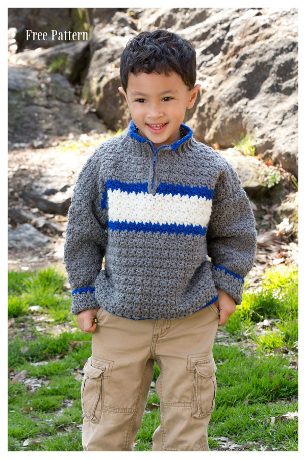 Baby&Kid Rugby Pullover Sweater Free Crochet Patterns