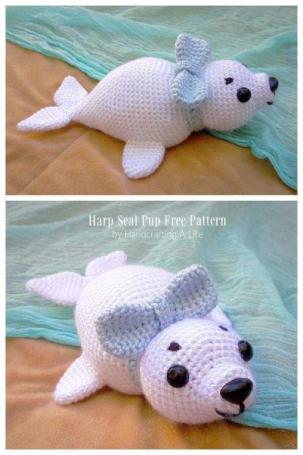Crochet HUGO the Harp Seal Pup Amigurumi Free Patterns